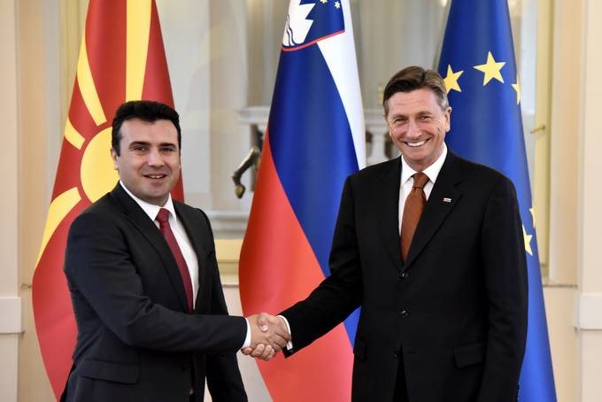 The President of the Republic of Slovenia, Borut Pahor and the Prime Minister of the Republic of Macedonia, Zoran Zaev