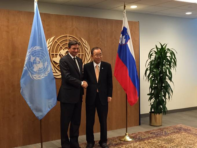 President of the Republic of Slovenia Borut Pahor at the 71th Session of the UN General Assembly with Secretary General Ban Ki-moon