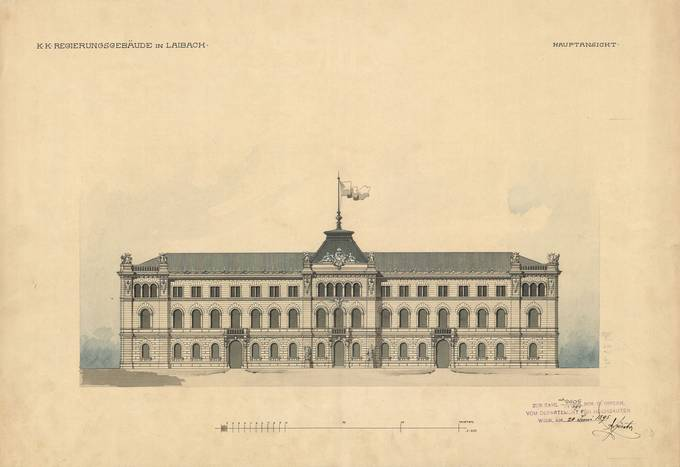 The Presidential Palace - scheme from 1895 - original is in Slovenian State Archive