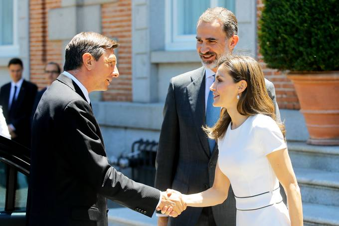 Reception of the President of the Republic of Slovenia Borut Pahor in front of the Royal Palace of Zarzuela in Madrid